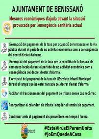 Mesures econòmiques pel Covid19 en Benissanó