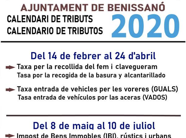 Nuevo calendario de tributos 2020