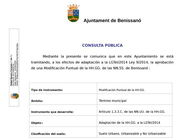 Consulta Pública de la Modificación Puntual ANTENAS